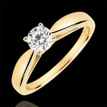 Pierścionek w kształcie trzciny z jednym diamentem - diament 0,4 karata - złoto żółte 18-karatowe