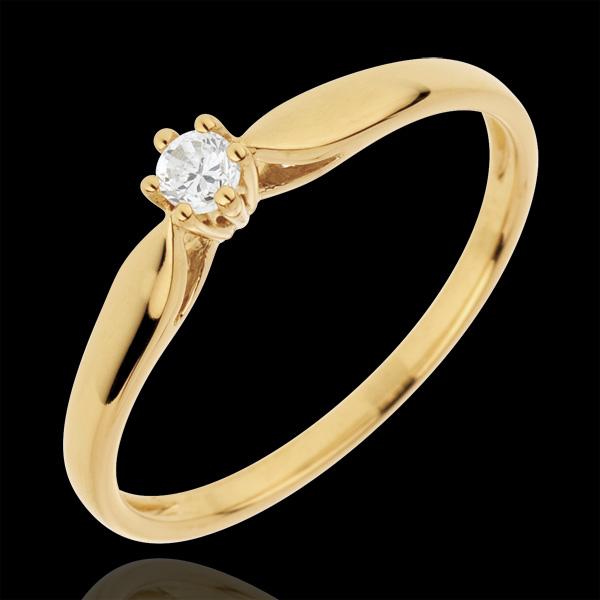 Pierścionek w kształcie trzciny z jednym diamentem oprawionym w 6 krap - 0,07 karata - złoto żółte 18-karatowe