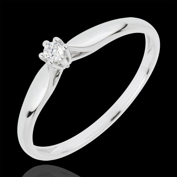 Pierścionek w kształcie trzciny z jednym diamentem oprawionym w 6 krap - złoto białe 18-karatowe