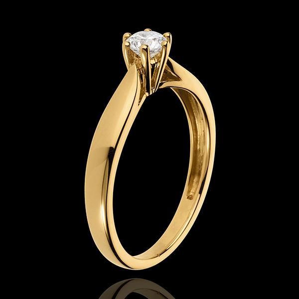 Pierścionek w kształcie trzciny z jednym diamentem oprawionym w 6 krap - złoto żółte 18-karatowe - 0,3 karata