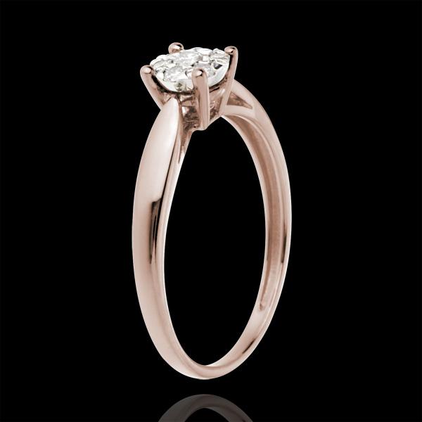 Pierścionek w kształcie trzciny z różowego złota 18-karatowego z kulą wysadzaną diamentami - 0,12 karata