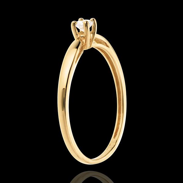Pierścionek w kształcie trzciny z żółtego złota 18-karatowego z jednym diamentem - 0,1 karata