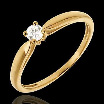 Pierścionek w kształcie trzciny z żółtego złota 18-karatowego z jednym diamentem - 0,13 karata