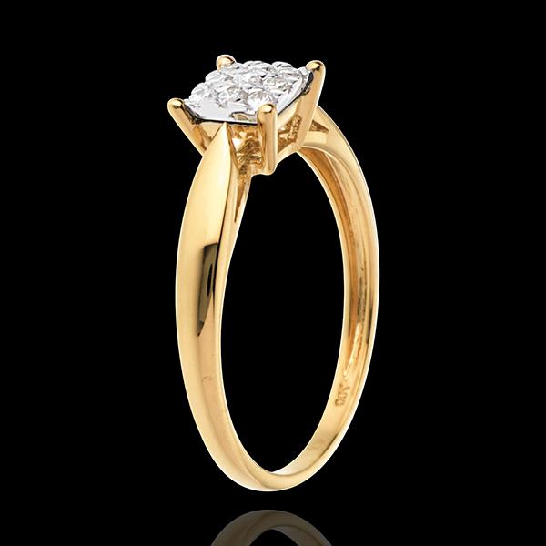 Pierścionek w kształcie trzciny z żółtego złota 18-karatowego z kostką wysadzaną diamentami - 9 diamentów