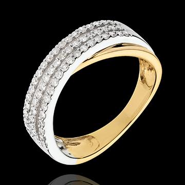 Pierścionek Kunsztowny Saturn - złoto białe i złoto żółte 18-karatowe