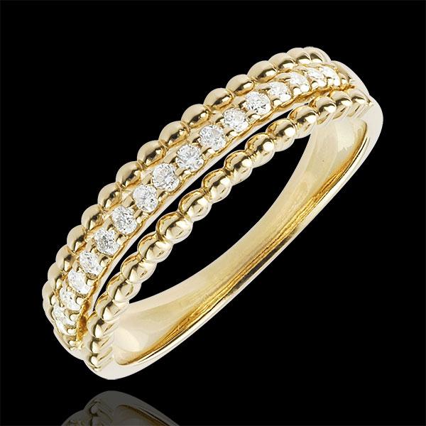 Pierścionek Kwiat Solny - dwie obrączki - złoto żółte 9-karatowe