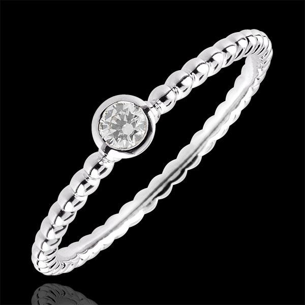 Pierścionek Kwiat Solny z jednym diamentem - obrączka - złoto białe 9-karatowe - 0,08 karata