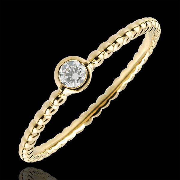 Pierścionek Kwiat Solny z jednym diamentem - obrączka - złoto żółte 18-karatowe - 0,08 karata