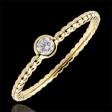 Pierścionek Kwiat Solny z jednym diamentem - obrączka - złoto żółte 9-karatowe - 0,08 karata