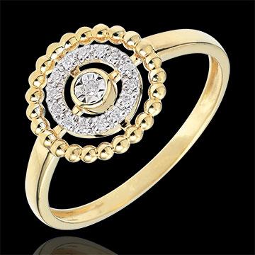 Pierścionek Kwiat Solny - koło - złoto żółte 9-karatowe