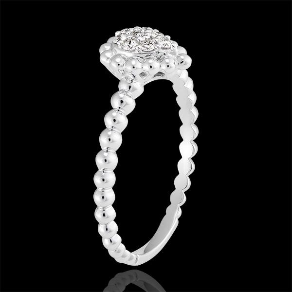 Pierścionek Kwiat Solny - Perłowa Łza - białe złoto 9-karatowe wysadzane diamentami
