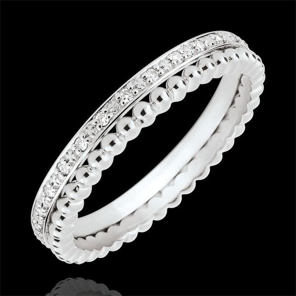 Pierścionek Kwiat Solny - podwójny rząd - diamenty - złoto białe 9-karatowe