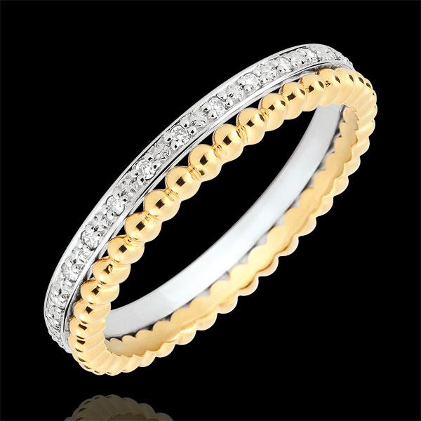 Pierścionek Kwiat Solny - podwójny rząd - diamenty,żółte i białe złoto 18-karatowe