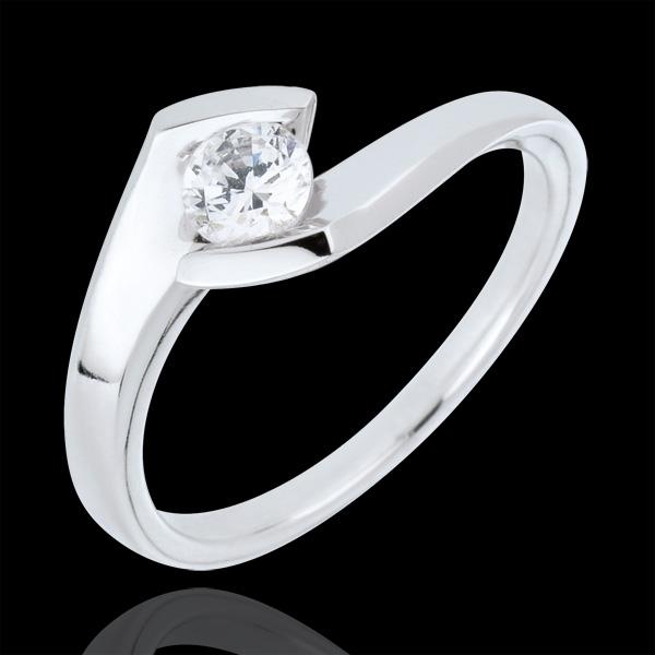 Pierścionek Letni Wieczór z białego złota 9-karatowego z jednym diamentem - 0,32 karata