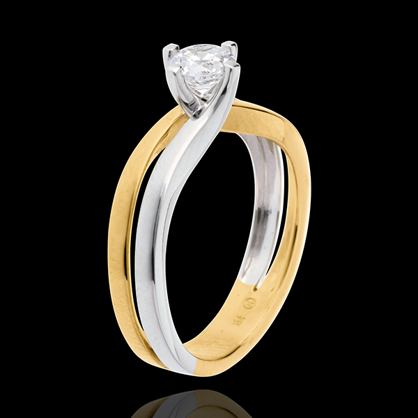 Pierścionek Linia z jednym diamentem (bardzo duży model) - diament 0,52 karata - złoto białe i złoto żółte 18-karatowe