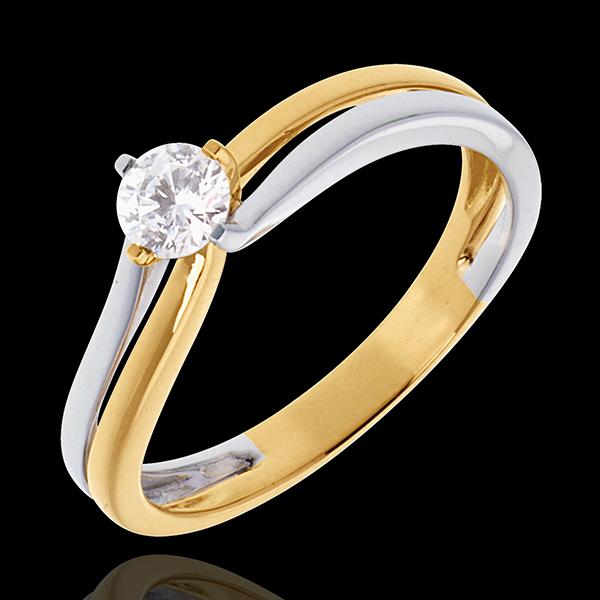 Pierścionek Linia z jednym diamentem - diament 0,27 karata - złoto białe i złoto żółte 18-karatowe