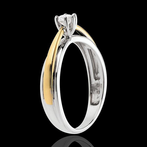 Pierścionek Łuk z jednym diamentem - diament 0,19 karata - złoto białe i złoto żółte 18-karatowe