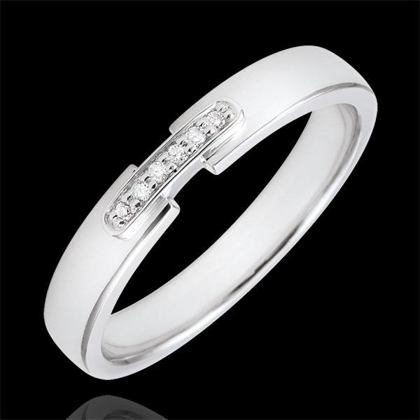 Pierścionek Magiczne Połączenie z białego złota 18-karatowego i diamentów