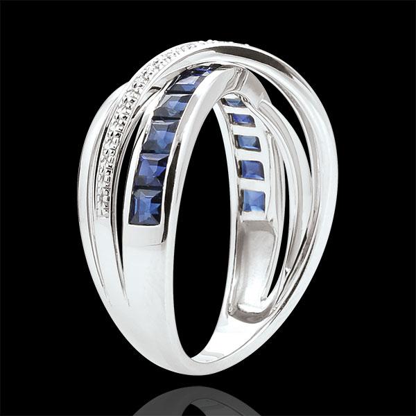 Pierścionek Mały Saturn wariacja 1 - złoto białe 9-karatowe, szafiry i diamenty