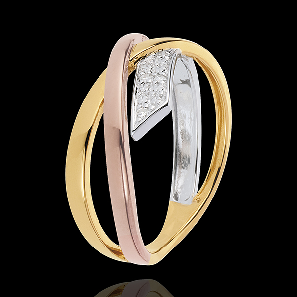 Pierścionek Mały Saturn wariacja 2 - trzy rodzaje złota - trzy rodzaje złota 9-karatowego