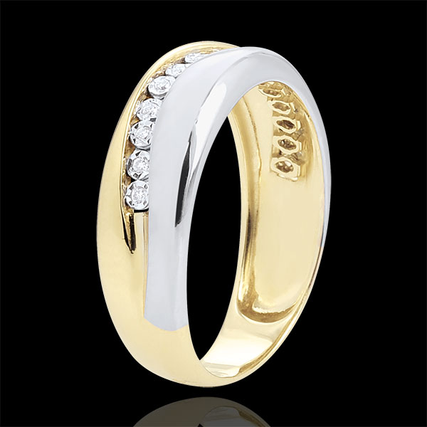 Pierścionek Miłość - Diamenty - złoto białe i złoto żółte 9-karatowe