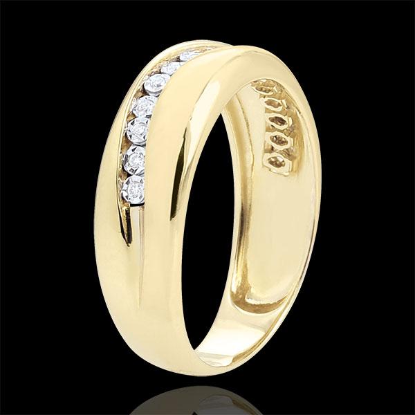 Pierścionek Miłość - Diamenty - złoto żółte 18-karatowe