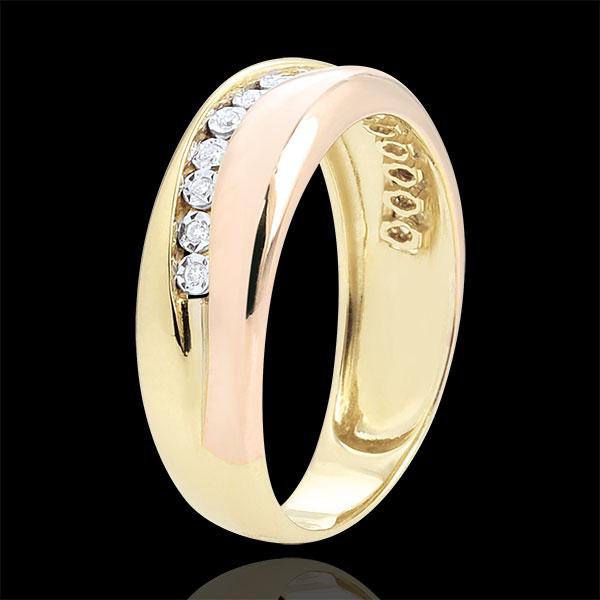 Pierścionek Miłość - Diamenty - złoto żółte i złoto różowe 18-karatowe