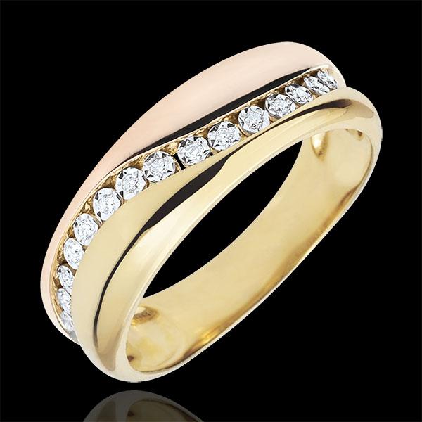 Pierścionek Miłość - Diamenty - złoto żółte i złoto różowe 9-karatowe