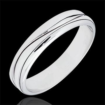 Pierścionek Miłość - Obrączka męska z białego złota 9-karatowego