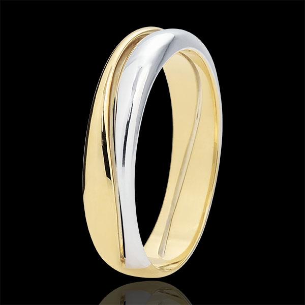 Pierścionek Miłość - Obrączka męska z białego i żółtego złota 18-karatowego