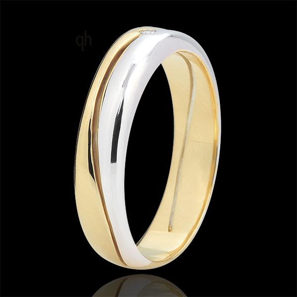 Pierścionek Miłość - Obrączka męska z białego i żółtego złota 9-karatowego - diament 0,022 karata