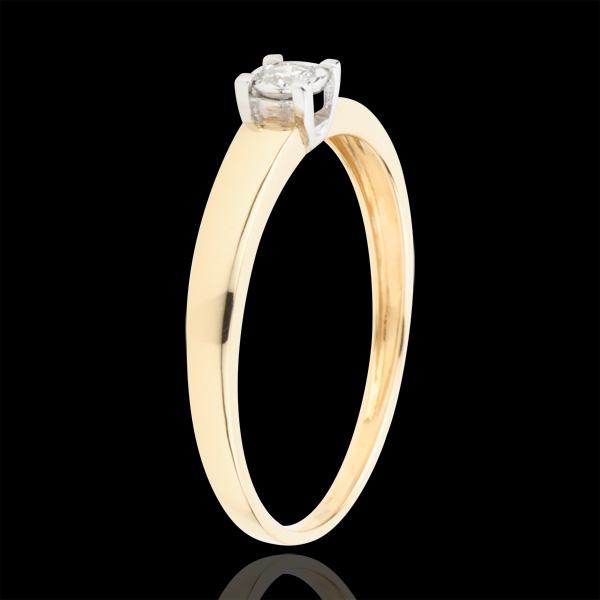 Pierścionek Miłość Życia z jednym diamentem - diament 0,05 karata - złoto żółte 9-karatowe