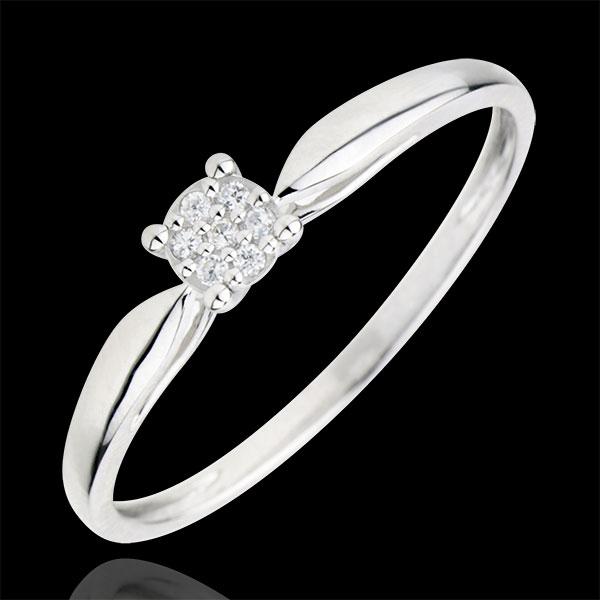 Pierścionek Miriady Gwiazd z jednym diamentem - diament 0,04 karata - złoto białe 9-karatowe
