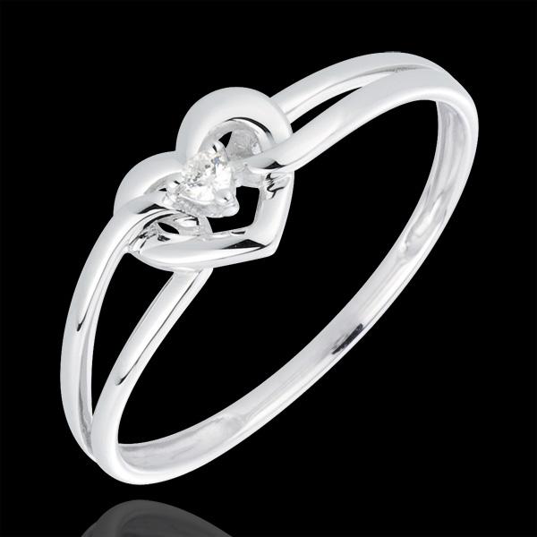 Pierścionek Moja Miłość - złoto białe 18-karatowe i diament