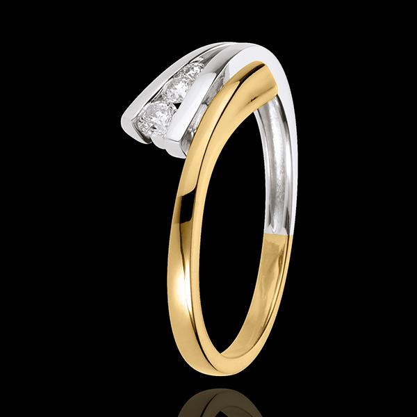 Pierścionek Narval z potrójnym diamentem - 3 diamenty - złoto białe i złoto żółte 18-karatowe