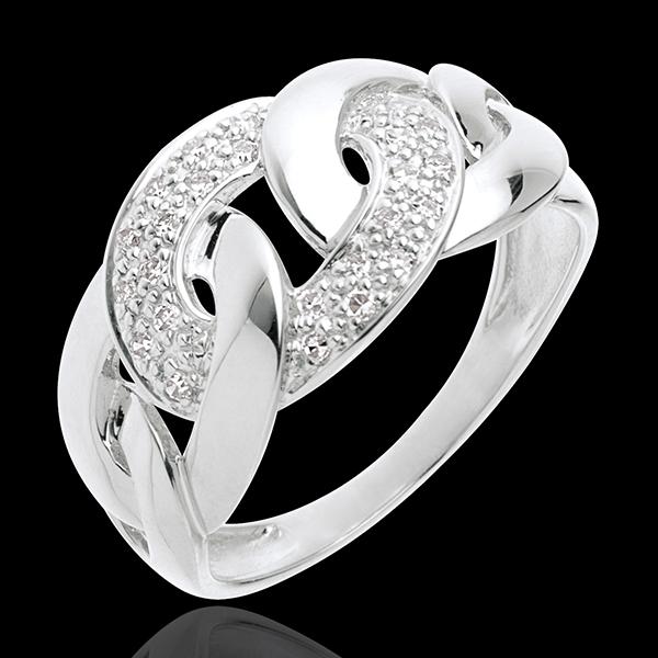 Pierścionek Naszyjnik z białego złota 18-karatowego wysadzany diamentami - 24 diamenty