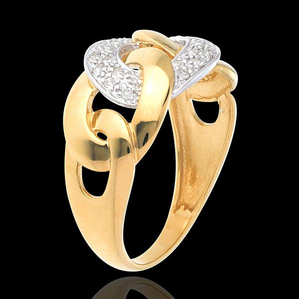 Pierścionek Naszyjnik z żółtego złota 18-karatowego wysadzany diamentami - 24 diamenty