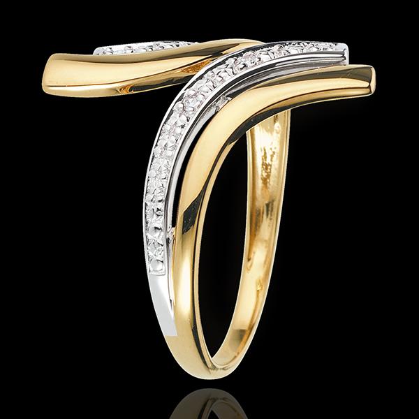 Pierścionek Nefertiti - 5 diamentów - złoto białe i złoto żółte 18-karatowe