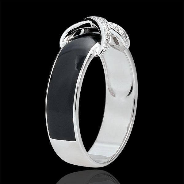 Pierścionek Nieskończoność - Połączenie czarnej laki i diamentów - złoto białe 9-karatowe