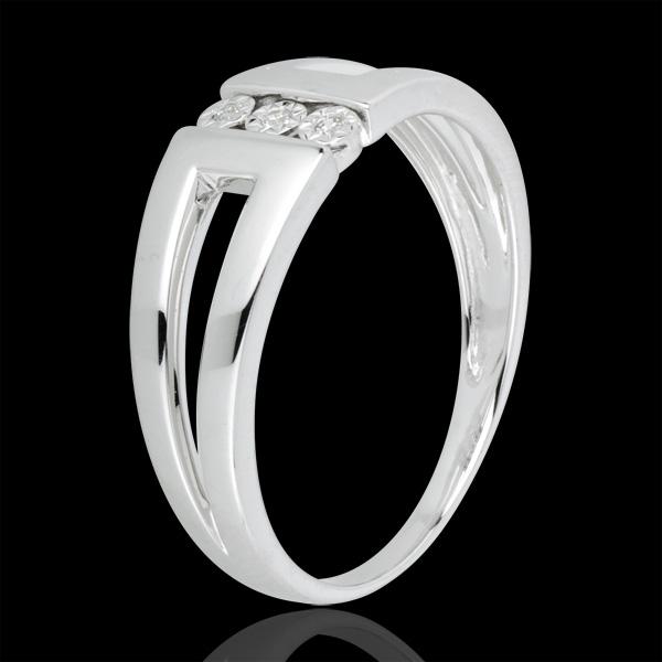 Pierścionek Nieskończoność -Selma - z białego złota 18-karatowego z trzema diamentami w otoczeniu innych diamentów