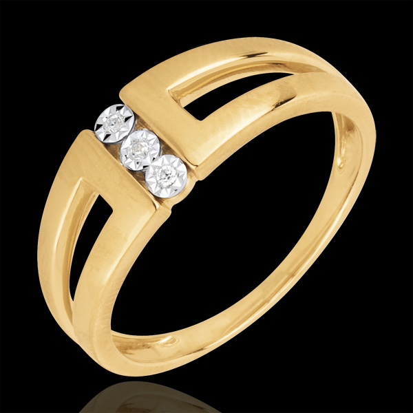 Pierścionek Nieskończoność Selma z żółtego złota 18-karatowego z trzema diamentami w otoczeniu innych diamentów