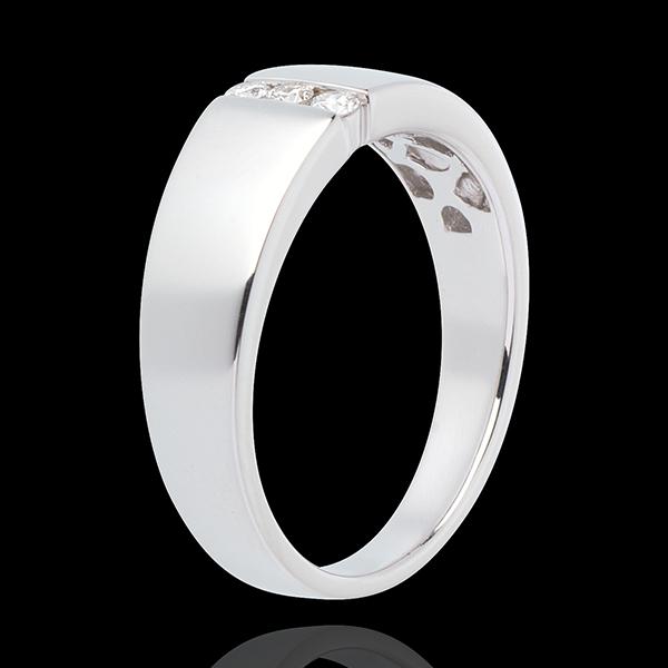 Pierścionek Nieskończoność - Trzy diamenty wciśnięte w oprawę - złoto białe 18-karatowe - 3 diamenty