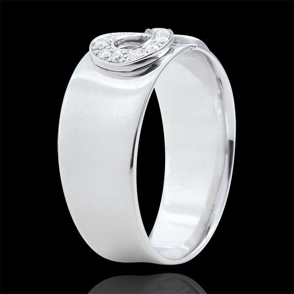 Pierścionek Nieskończoność - złoto białe 18-karatowe i diamenty