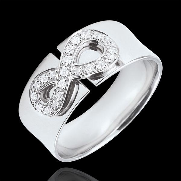 Pierścionek Nieskończoność - złoto białe 9-karatowe i diamenty