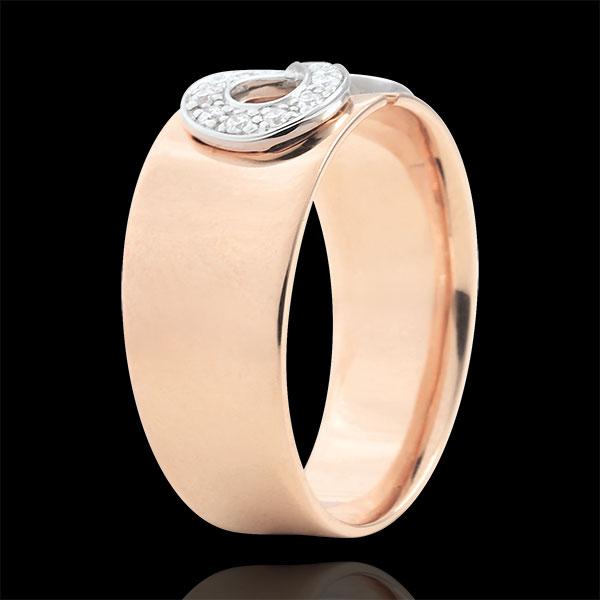 Pierścionek Nieskończoność - złoto różowe 18-karatowe i diamenty
