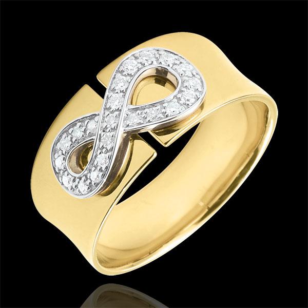 Pierścionek Nieskończoność - złoto żółte 18-karatowe i diamenty