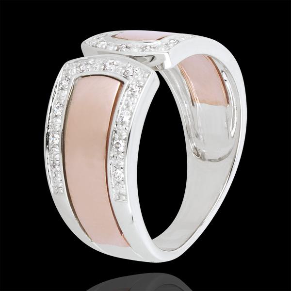Pierścionek nieskończoności - Cesarskie i diamenty - złoto białe i złoto różowe 18-karatowe