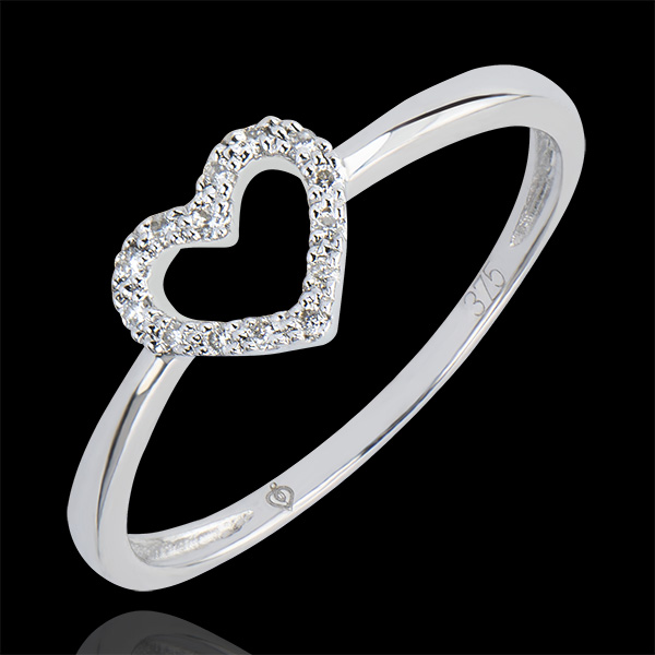 Pierścionek Obfitość – Serduszko – białe złoto 9-karatowe z diamentami