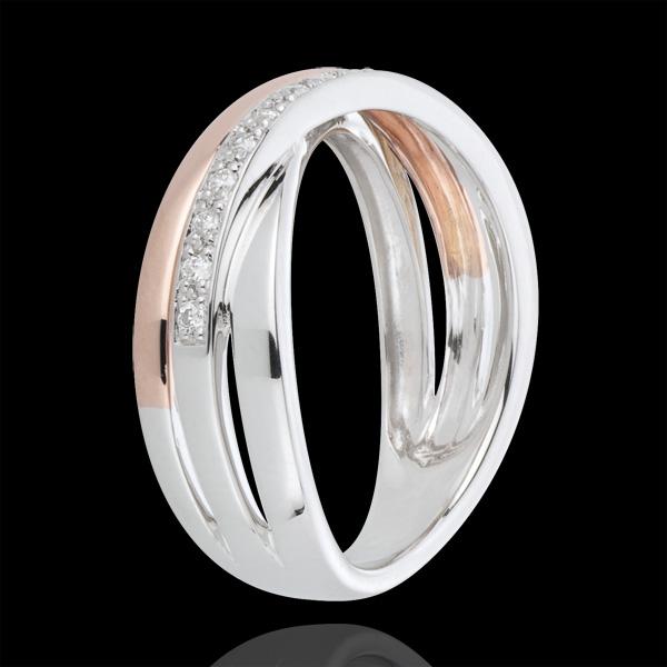 Pierścionek z obrączek i diamenty - złoto białe i złoto różowe 18-karatowe