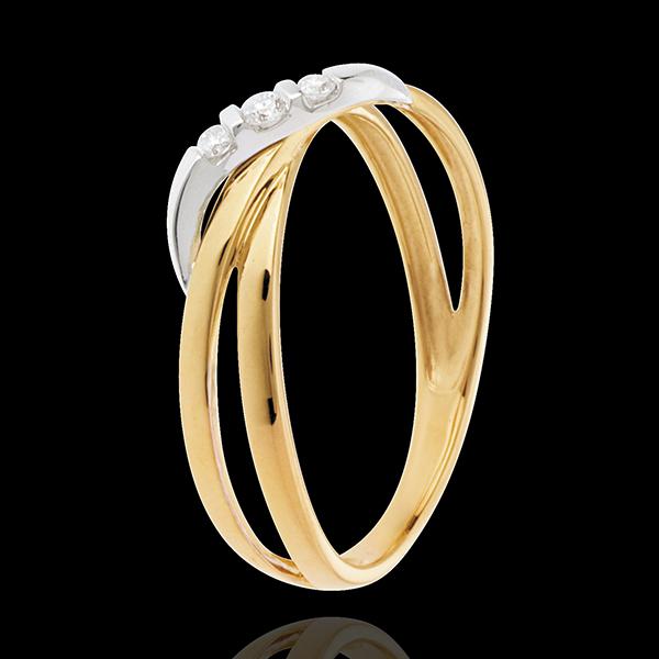 Pierścionek Obręcz z potrójnym diamentem - 3 diamenty - złoto białe i złoto żółte 18-karatowe